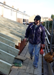 Home extension scaffolding roofer